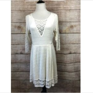 Free People Snow To the Point Fit and Flare Dress
